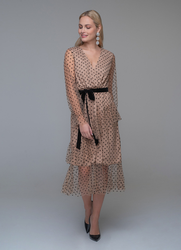 Nude polka dot wrap dress