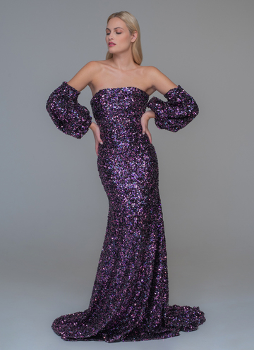 Strapless purple sequin evening dress with extra sleeves