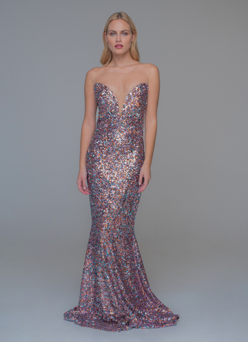 Mermaid evening dress made of colorful sequins