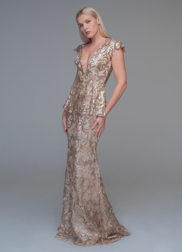 Gold maxi dress from applique lace