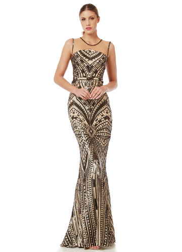 Maxi sequin dress with pattern
