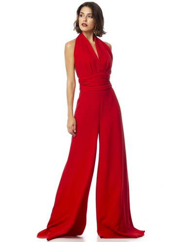 Red open back jupsuit