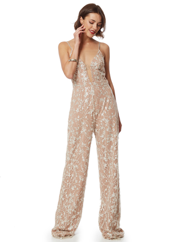 Nude jumpsuit with sequin