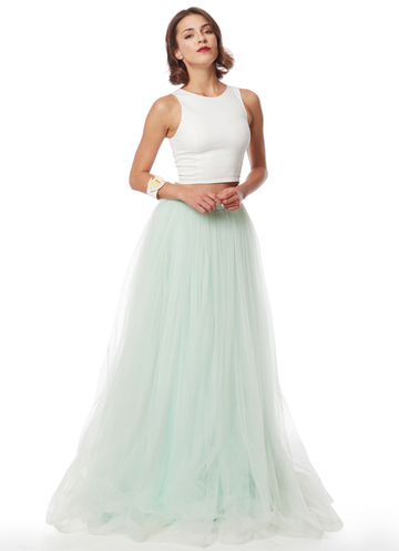 Long mint tulle skirt
