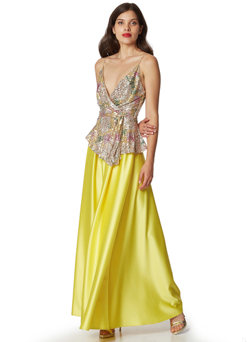 Long yellow satin skirt