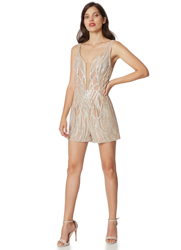 Silver sequin short jumpsuit