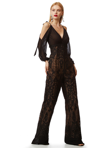 Black lace and muslin jampsuit