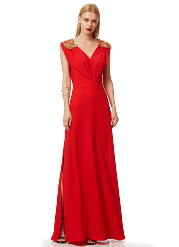Maxi red dress with gold shoulders