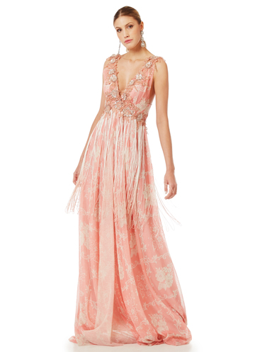 Maxi embroidered pink gown with fringe detail