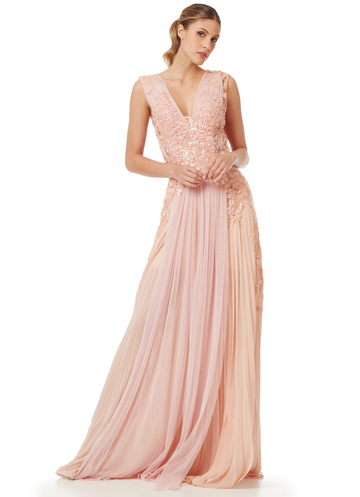 Maxi pink gown with embroidered bodice