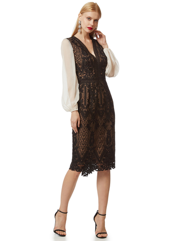 Midi black lace dress with muslin sleeves