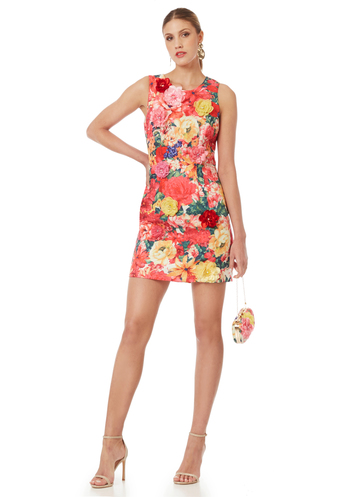 Floral sleeveless mini dress decorated with 3D flowers