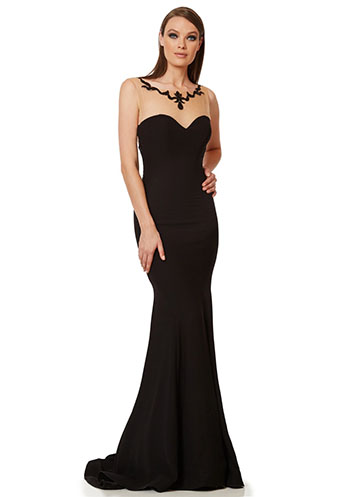 Long black mermaid dress with sheer details
