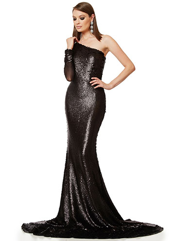 Long black sequin gown with one shoulder