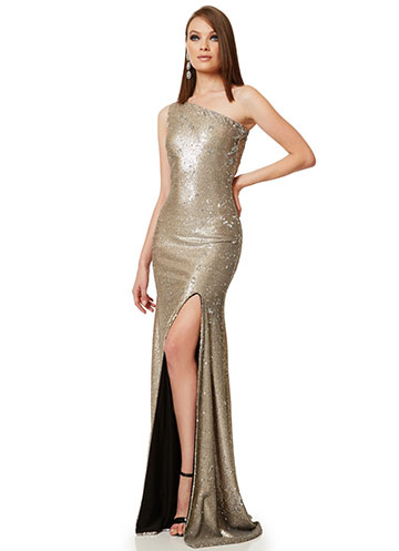 Long silver sequin gown with one shoulder