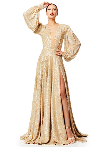 Long beige-gold sequin dress with voluminous sleeves