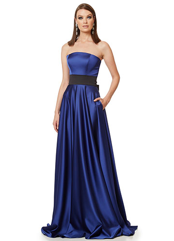 "Long blue strapless satin dress - ""Swan Dress"""
